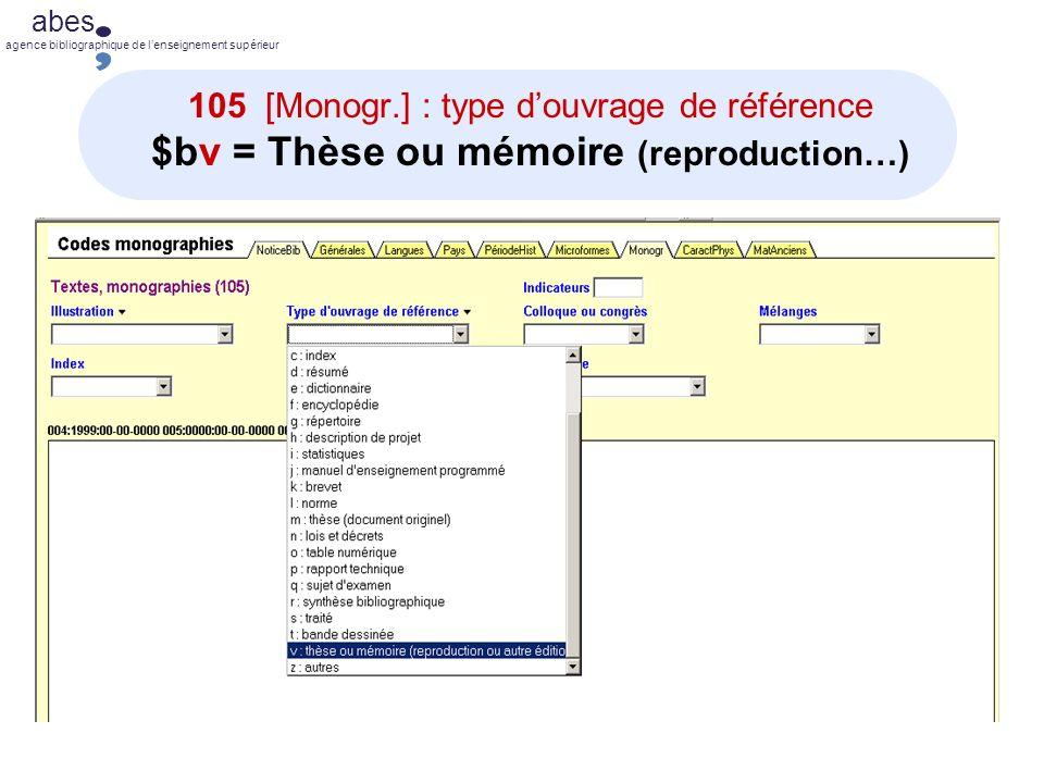105 [Monogr.] : type d'ouvrage de référence $bv = Thèse ou mémoire (reproduction…)